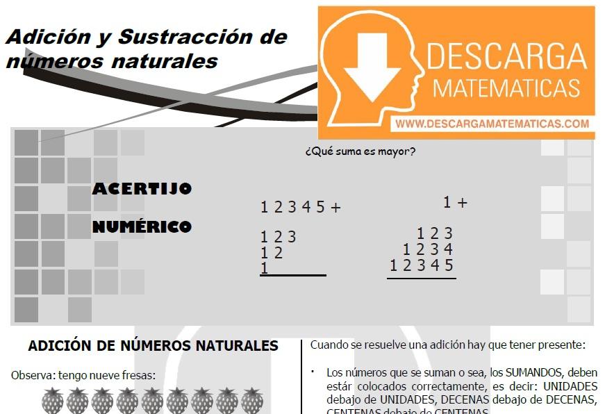 02 DESCARGAR ADICIÓN Y SUSTRACCIÓN DE NÚMEROS NATURALES