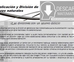 MULTIPLICACIÓN Y DIVISIÓN DE NÚMEROS NATURALES – PRIMER GRADO DE SECUNDARIA