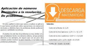 APLICACIÓN DE NÚMEROS DECIMALES A LA RESOLUCIÓN DE PROBLEMAS