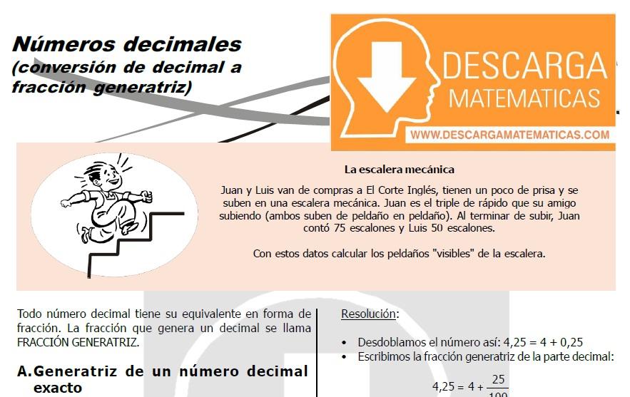 CONVERTIR NÚMEROS DECIMALES A FRACCIONES – SEGUNDO DE SECUNDARIA