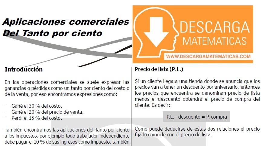 DESCARGAR APLICACIONES COMERCIALES DEL TANTO POR CIENTO - CUARTO DE SECUNDARIA