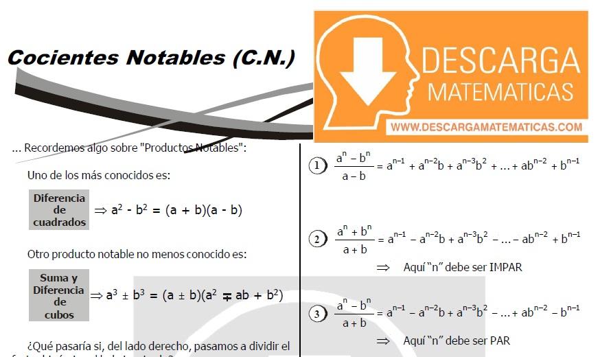 DESCARGAR COCIENTES NOTABLES - ÁLGEBRA SEGUNDO DE SECUNDARIA