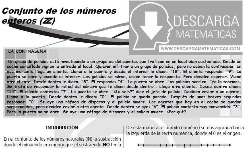 DESCARGAR CONJUNTO DE LOS NÚMEROS ENTEROS – PRIMERO DE SECUNDARIA ...