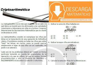 09 CRIPTOARITMETICA PARA ESTUDIANTES DE PRIMERO DE SECUNDARIA