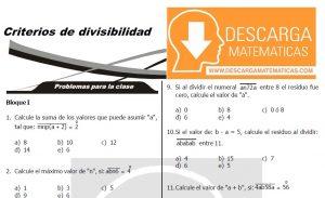 DESCARGAR CRITERIOS DE DIVISIBILIDAD - QUINTO DE SECUNDARIA