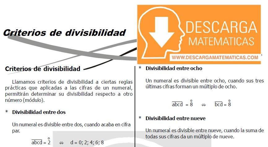DESCARGAR CRITERIOS DE DIVISIBILIDAD - TERCERO DE SECUNDARIA