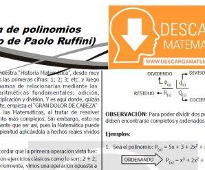DESCARGAR DIVISIÓN DE POLINOMIOS – METODO DE RUFFINI