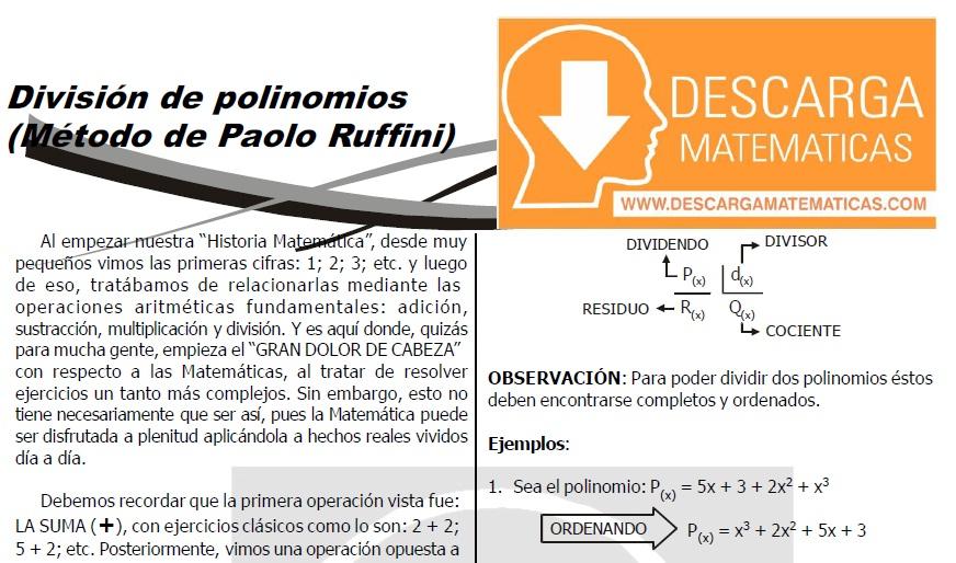 DESCARGAR DIVISIÓN DE POLINOMIOS - METODO DE RUFFINI