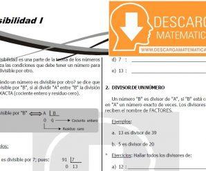 DESCARGAR DIVISIBILIDAD PARA ESTUDIANTES DE PRIMERO DE SECUNDARIA