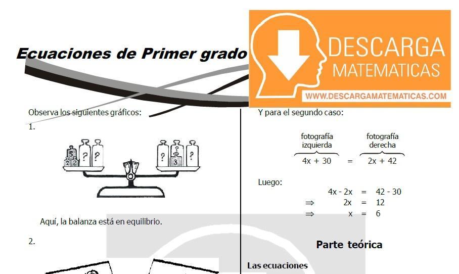DESCARGAR ECUACIONES DE PRIMER GRADO – ÁLGEBRA SEGUNDO DE SECUNDARIA ...