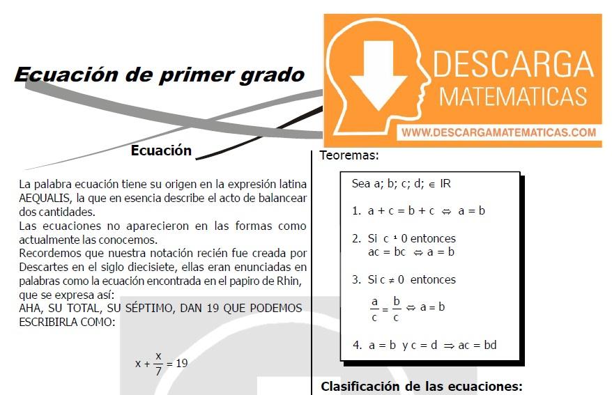 DESCARGAR ECUACIONES DE PRIMER GRADO – TERCERO DE SECUNDARIA