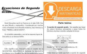 DESCARGAR ECUACIONES DE SEGUNDO GRADO - ÁLGEBRA SEGUNDO DE SECUNDARIA
