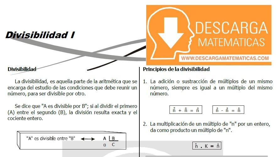 DESCARGAR EJERCICIOS DE DIVISIBILIDAD - TERCERO DE SECUNDARIA