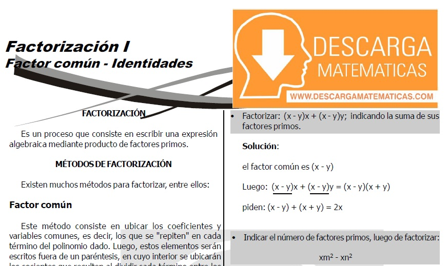 DESCARGAR EJERCICIOS DE FACTORIZACIÓN DE POLINOMIOS