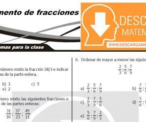 DESCARGAR EJERCICIOS DE FRACCIONES – PRIMERO DE SECUNDARIA