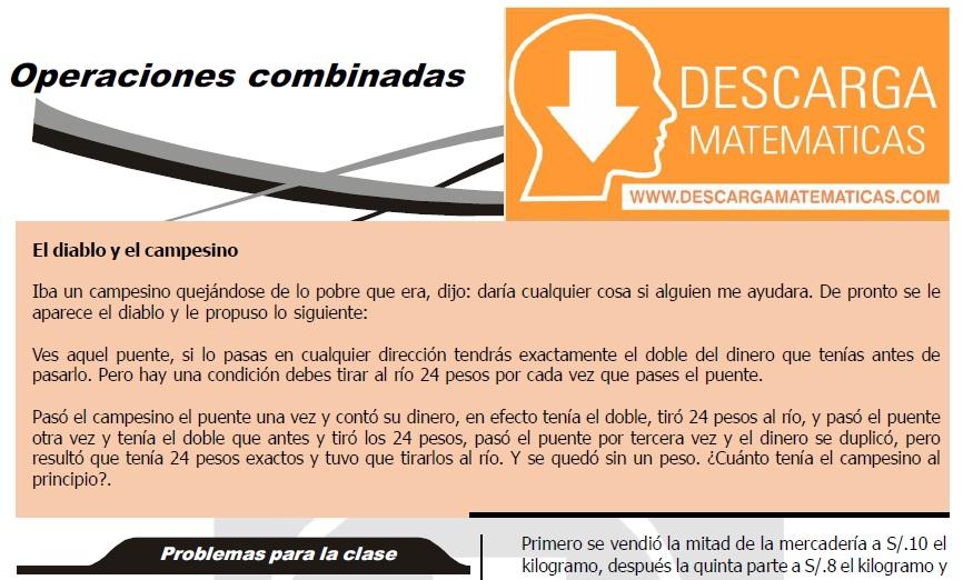 DESCARGAR EJERCICIOS DE OPERACIONES COMBINADAS - CUARTO DE SECUNDARIA