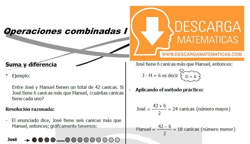 DESCARGAR EJERCICIOS DE OPERACIONES COMBINADAS - TERCERO DE SECUNDARIA
