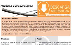 DESCARGAR EJERCICIOS DE RAZONES Y PROPORCIONES PARA ESTUDIANTES DE CUARTO DE SECUNDARIA