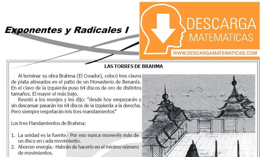 DESCARGAR EXPONENTES Y RADICALES – ALGEBRA TERCERO DE SECUNDARIA
