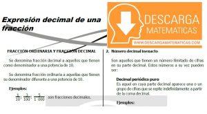 DESCARGAR EXPRESIÓN DECIMAL DE UNA FRACCIÓN – PRIMERO DE SECUNDARIA