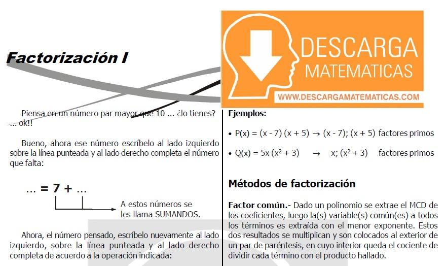 DESCARGAR FACTORIZACIÓN - ÁLGEBRA SEGUNDO DE SECUNDARIA