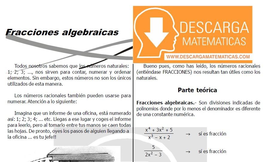 DESCARGAR FRACCIONES ALGEBRAICAS - ÁLGEBRA SEGUNDO DE SECUNDARIA