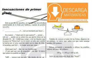 DESCARGAR INECUACIONES DE PRIMER GRADO - SEGUNDO DE SECUNDARIA