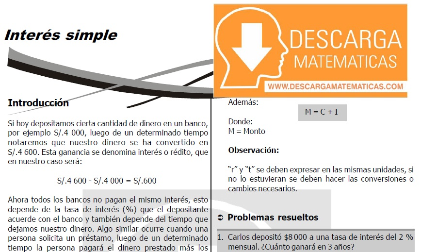 DESCARGAR INTERES SIMPLE - CUARTO DE SECUNDARIA
