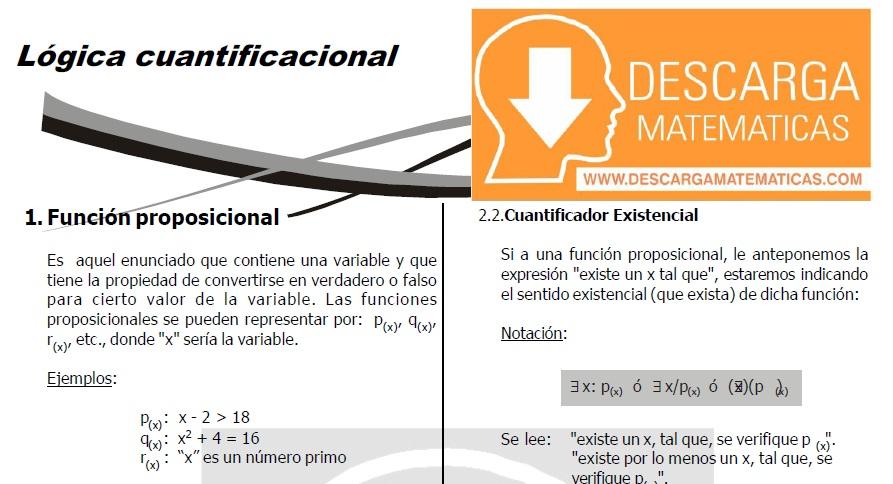 DESCARGAR LÓGICA CUANTIFICACIONAL- QUINTO DE SECUNDARIA