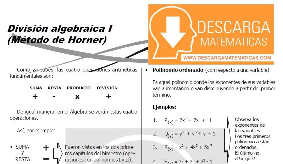 DESCARGAR METODO DE HORNER - ÁLGEBRA SEGUNDO DE SECUNDARIA