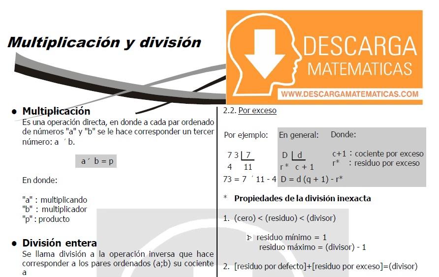 DESCARGAR MULTIPLICACIÓN Y DIVISIÓN - QUINTO DE SECUNDARIA