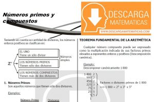 DESCARGAR NÚMEROS PRIMOS Y COMPUESTOS EJERCICIOS PARA RESOLVER