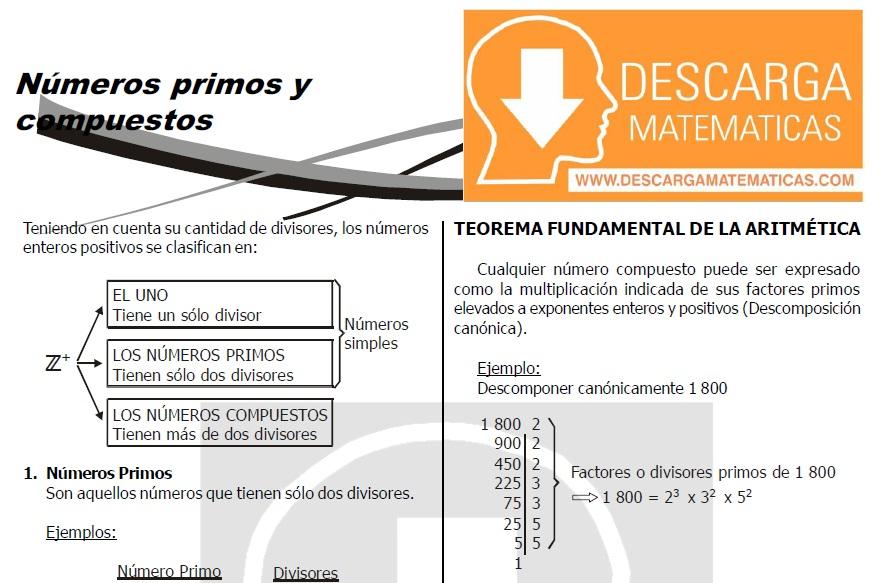 DESCARGAR NÚMEROS PRIMOS Y COMPUESTOS EJERCICIOS PARA RESOLVER ...