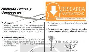 DESCARGAR NÚMEROS PRIMOS Y COMPUESTOS - QUINTO DE SECUNDARIA