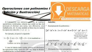 DESCARGAR OPERACIONES CON POLINOMIOS - ÁLGEBRA SEGUNDO DE SECUNDARIA