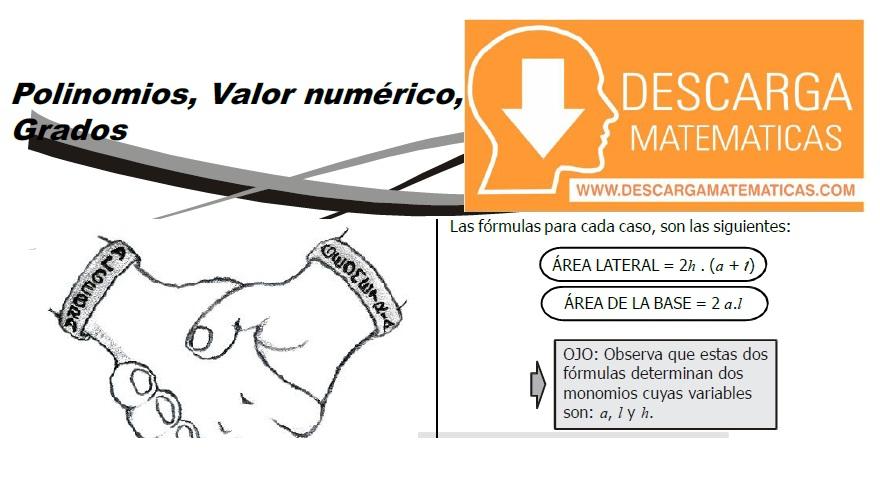 DESCARGAR POLINOMIOS, VALOR NUMÉRICO Y GRADOS