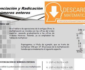 POTENCIACIÓN Y RADICACIÓN DE NÚMEROS ENTEROS – PRIMERO DE SECUNDARIA