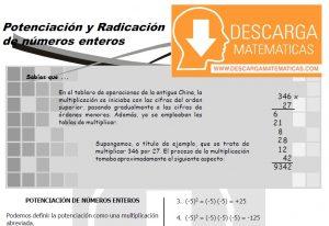 DESCARGAR POTENCIACIÓN Y RADICACIÓN DE NÚMEROS ENTEROS