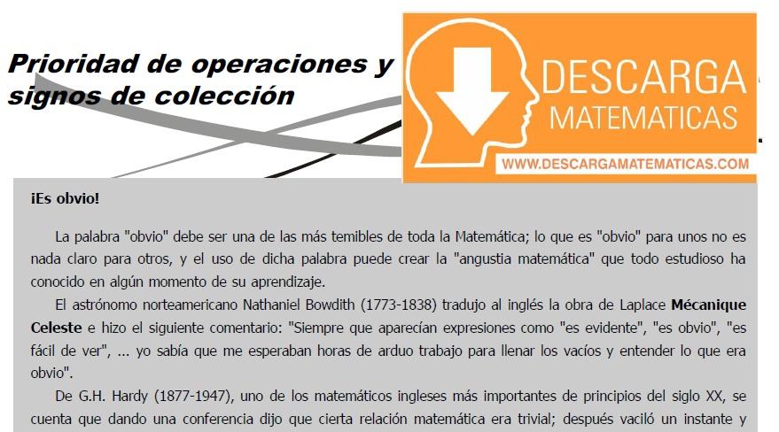 DESCARGAR PRIORIDAD DE OPERACIONES Y SIGNOS DE COLECCIÓN – SEGUNDO DE SECUNDARIA