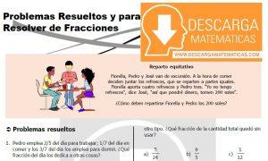 DESCARGAR PROBLEMAS PARA RESOLVER DE FRACCIONES - SEGUNDO DE SECUNDARIA