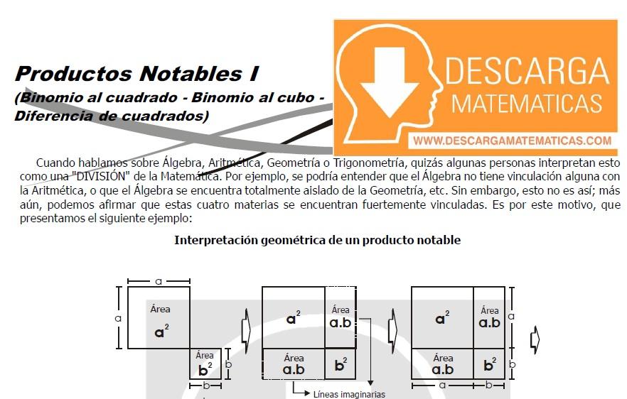 DESCARGAR PRODUCTOS NOTABLES - ÁLGEBRA SEGUNDO DE SECUNDARIA