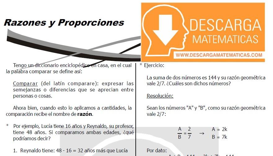 DESCARGAR RAZONES Y PROPORCIONES - QUINTO DE SECUNDARIA
