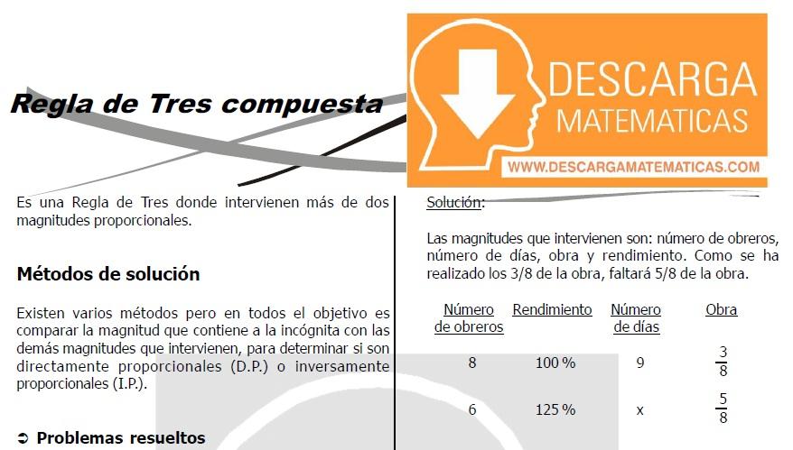 DESCARGAR REGLA DE TRES COMPUESTA - CUARTO DE SECUNDARIA