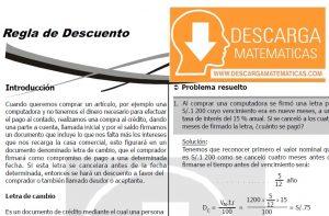DESCARGAR REGLA DEL DESCUENTO - CUARTO DE SECUNDARIA