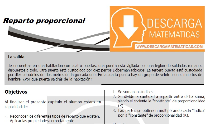 DESCARGAR REPARTO PROPORCIONAL - CUARTO DE SECUNDARIA