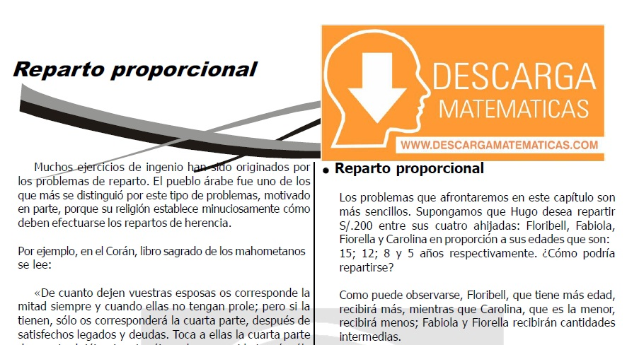 DESCARGAR REPARTO PROPORCIONAL - QUINTO DE SECUNDARIA