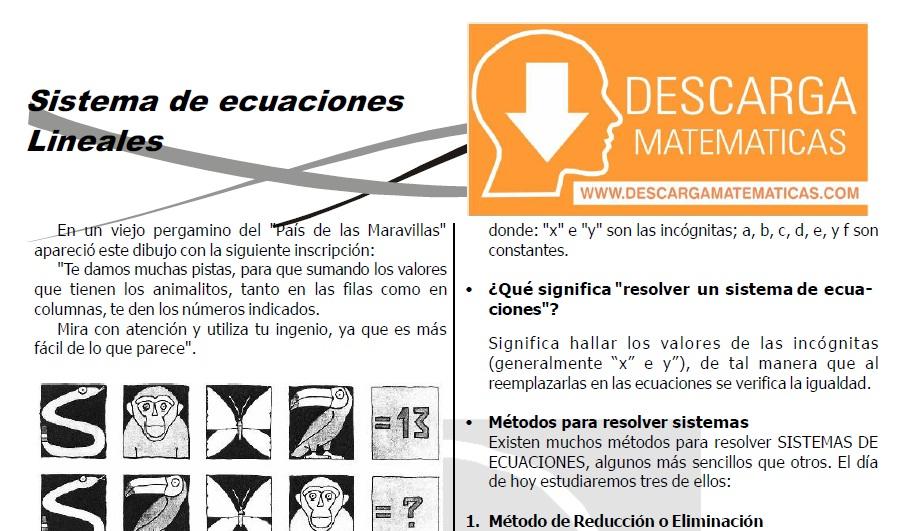 DESCARGAR SISTEMA DE ECUACIONES - ÁLGEBRA SEGUNDO DE SECUNDARIA