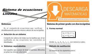DESCARGAR SISTEMA DE ECUACIONES LINEALES – ALGEBRA TERCERO DE SECUNDARIA