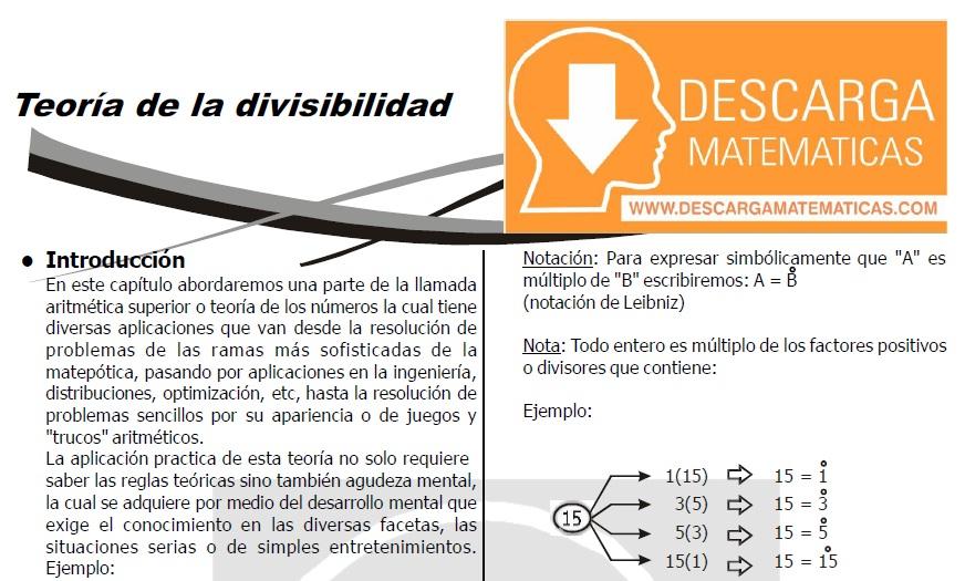DESCARGAR TEORÍA DE DIVISIBILIDAD - QUINTO DE SECUNDARIA