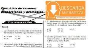 EJERCICIOS DE RAZONES, PROPORCIONES Y PROMEDIOS - SEGUNDO DE SECUNDARIA